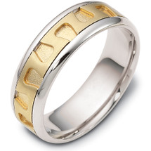 Gold and Platinum 7mm Comfort Fit Wedding Band Ring