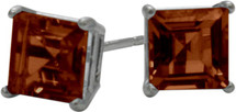 1.50Ct. Genuine 5mm Square Princess Cut Garnet 14 Karat White Gold Stud Earrings