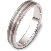 5mm Titanium & White Gold Detailed Wedding Band Ring