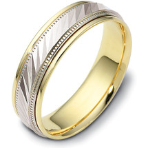 6mm Multi-Texture Yellow Gold & Titainum Wedding Band Ring