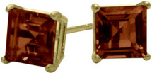 1.50Ct. Genuine 5mm Square Princess Cut Garnet 14 Karat Yellow Gold Stud Earrings