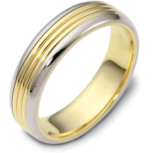 5.5mm Titanium & Yellow Gold Comfort Fit Wedding Band Ring