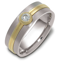 6mm Diamond Titanium & Yellow Gold Comfort Fit Wedding Band Ring