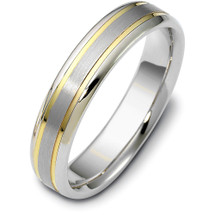 5mm Traditional Style Two-Tone Gold Comfort Fit Wedding Band Ring