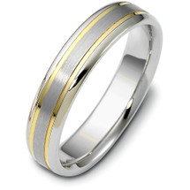 Contemporary 5mm Titanium and Yellow Gold Wedding Band Ring
