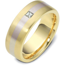 7.5mm Princess Cut Diamond Titanium & Yellow Gold Wedding Band Ring