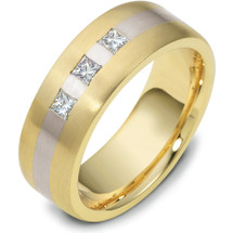 7.5mm 3 Princess Cut Diamond Titanium & Yellow Gold Wedding Band Ring
