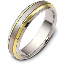 Designer Two-Tone Gold 6mm Comfort Fit Wedding Band Ring