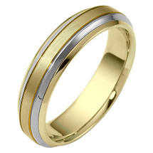 Designer 6mm Two-Tone Gold Comfort Fit Wedding Band Ring