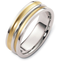 Classic 7mm Yellow Gold & Titanium Wedding Band Ring