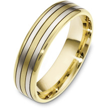 Classic 6mm Yellow Gold & Titanium Wedding Band Ring
