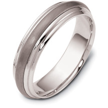 5.5mm Stylish Titanium & White Gold Wedding Band Ring