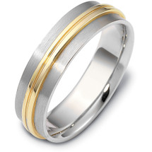 Designer 6mm Wide Two-Tone Gold Comfort Fit Wedding Band Ring