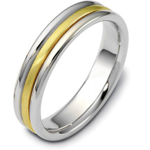 5mm Classic Yellow Gold & Titanium Wedding Band Ring