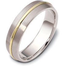 6mm Titanium & Yellow Gold Wedding Band Ring
