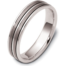 5mm Wide Titanium & White Gold Double Strip Wedding Band Ring