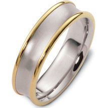 6mm Wide Traditional Yellow Gold & Titanium Wedding Band Ring