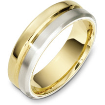 7mm Traditional Style Yellow Gold & Titanium Wedding Band Ring