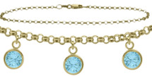 10 Karat Yellow Gold CHOOSE YOUR STONE Cable 3 Round Charm Anklet