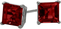 1.50Ct. Created 5mm Square Princess Cut Ruby 14 Karat White Gold Stud Earrings