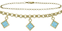 10 Karat Yellow Gold CHOOSE YOUR STONE Cable 3 Square Charm Anklet