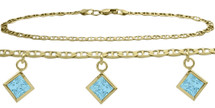 10 Karat Yellow Gold CHOOSE YOUR STONE 3 Square Charm Flat Gucci Anklet