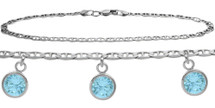 Sterling Silver CHOOSE YOUR STONE 3 Round Charm Flat Gucci Anklet