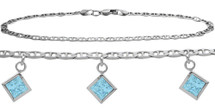 Sterling Silver CHOOSE YOUR STONE 3 Square Charm Flat Gucci Anklet