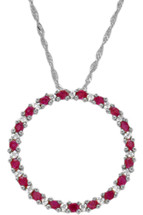 10 Karat White Gold Diamond & Ruby Circle of Life Pendant