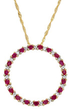 10 Karat Yellow Gold Diamond & Ruby Circle Of Life Pendant
