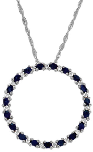 10 karat white gold diamond sapphire circle of life pendant sapphire circle of life pendant image 1 mozeypictures Image collections