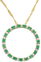 10 Karat Yellow Gold Diamond & Emerald Circle Of Life Pendant