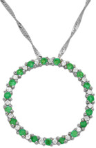 10 Karat White Gold Diamond & Emerald Circle Of Life Pendant