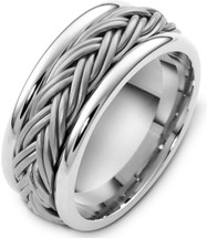 9.5mm Platinum Braided Style Wedding Band