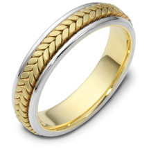 5mm 14 Karat Yellow & Titanium Gold Wedding Band Ring