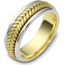 7mm 14 Karat Yellow Gold & Titanium Wedding Band Ring