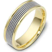14 Karat 7mm Titanium & Yellow Gold Wedding Band Ring