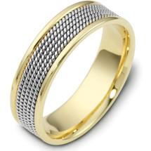 14 Karat 7mm Titanium & Yellow Gold Wedding Band Ring