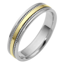 5mm Woven Two-Tone 14 Karat Gold Comfort Fit Wedding Band Ring