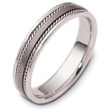 5mm Rope Style Titanium & 14 Karat White Gold Wedding Band Ring