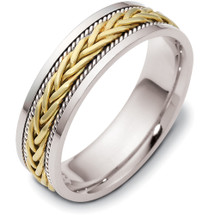 6.5mm Titanium & 14 Karat Yellow Gold Woven Style Wedding Band