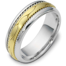 7mm Titanium & 14 Karat Yellow Gold Braided Style Wedding Band