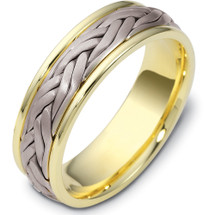 7mm Titanium & 14 Karat Yellow Gold Braided Wedding Band