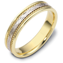 14 Karat 5mm Titanium & Yellow Gold Wedding Band Ring