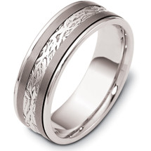 7mm Inscribed Titanium & 14 Karat White Gold Wedding Band Ring