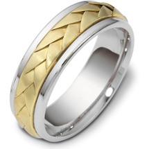 Braided Style 14 Karat Yellow Gold & Titanium 7mm Wedding Band