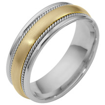 7mm Rope Style 14 Karat Two-Tone Gold Comfort Fit Wedding Band