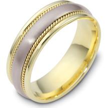 Rope Style 14 Karat Yellow Gold & Titanium 7mm Wedding Band