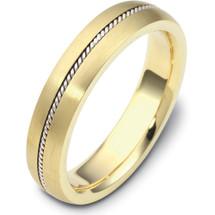 5mm Rope Style Titanium & 14 Karat Yellow Gold Wedding Band
