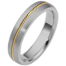 5mm Wide Designer Woven Style 14 Karat Two-Tone Gold Wedding Band